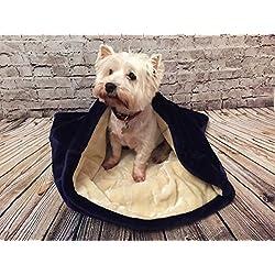 Snuggle saco/saco de dormir/Mascotas Cama para perros y gatos por Pet de Lola Snow Azul Marino y crema