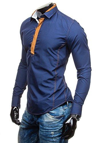 BOLF - Camicia casual �?Maniche lunghe - Elegante �?BOLF 5783 - Uomo Blu scuro