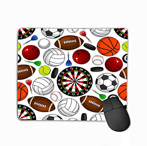 Mouse Pad Seamless Pattern Sport Items White Soccer American Football Basketball Baseball Volleyball Tennis Rectangle Rubber Mousepad 11.81 X 9.84 Inch