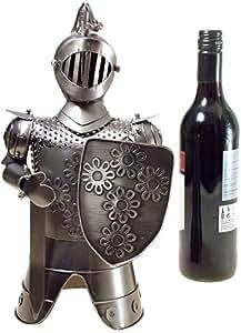 Great Ideas EshopRetailLtd Couvre-bouteille de vin Armure brillante Finition effet étain