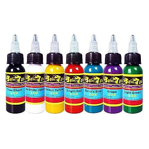Solong Tattoo® 7 Basic Colors Tattoo Ink Set Pigment Kit 1oz (30ml) Professional Tattoo Supply for Tattoo Kit TI301-30-7