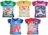 #10: KIFAYATI BAZAR Kids Girls 3D Print TOP Beach WEAR Tshirt Pack of 5 (6-7 Years)