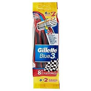 Gillette Blue3 Nitro Usa e Getta Rasoio da Uomo, 8 Pezzi
