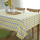 GWELL Gelb Grau Dreieck Tischdecke Eckig Segeltuch Tischtuch Pflegeleicht Schmutzabweisend Tischwäsche 120x160cm