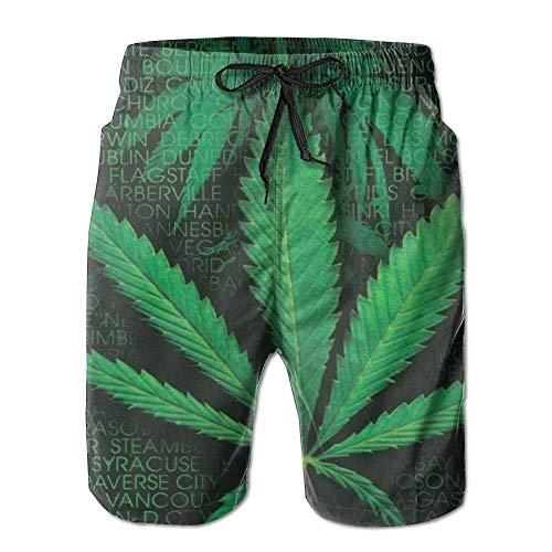 Cool Words Leaf Weed Männer/Jungen Lässige, schnell trocknende Badeanzüge Strandhose mit elastischer Taille und Taschen, M