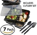Lot de 7lunch box réutilisables à 3compartiments Comprend Cuillère fourchette couteau serviette de table