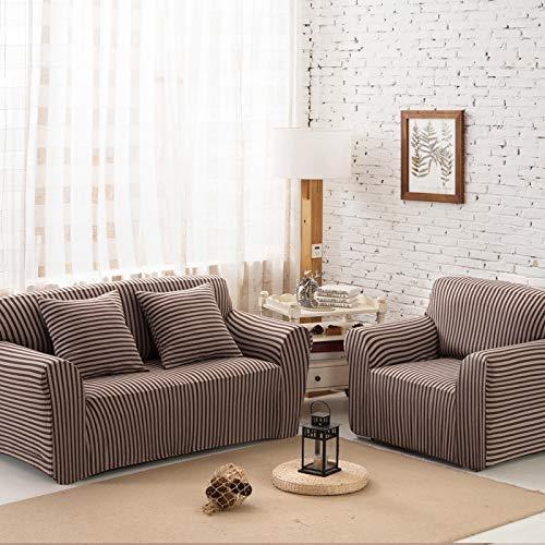 BAIF Universalgröße Gestreifte Form Sofabezug Couch Schonbezüge Sitzbezüge Sitzbank aus Stretchgewebe abnehmbar waschbar Handtuchumschlag (90-300 cm), YH18,4-Sitzer 235-310 cm -
