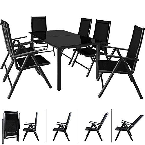 Deuba Aluminium Sitzgruppe 6+1 Anthrazit | 6 verstellbare Stühle | Tisch höhenverstellbar | 5mm...
