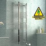 iBathUK 1600 x 400 mm Electric Curved Towel Rail Radiator Chrome Heated Ladder
