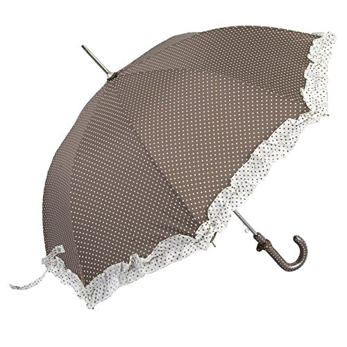 Clayre & Eef W4PLUS0002CH Kleiner Regenschirm Stockschirm Kinderschirm mit Rüschen braun- weiß gepunktet