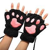 Kentop Guantes de Invierno Mujer Media Dedos cálida Guantes Gato de Peluche de Huellas sin Dedos Guantes, Peluche, Negro, pequeño