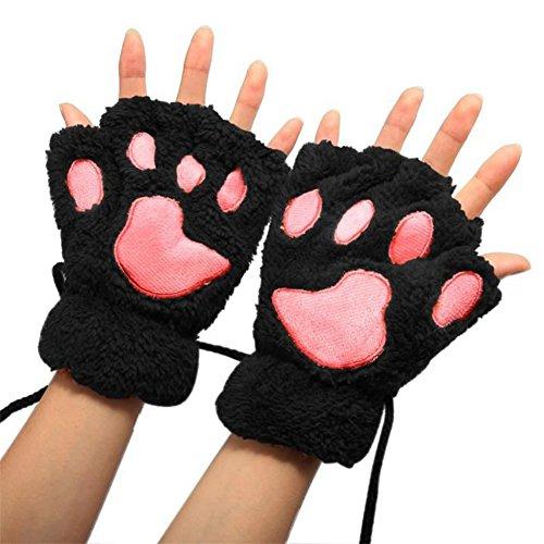 VI. Yo Frauen Mädchen HALF Finger Handschuhe Cute Cartoon Cat Claw Handschuhe Winter Warm Weich Dick Sports Handschuhe für Arbeit, Korallenvlies, schwarz, S