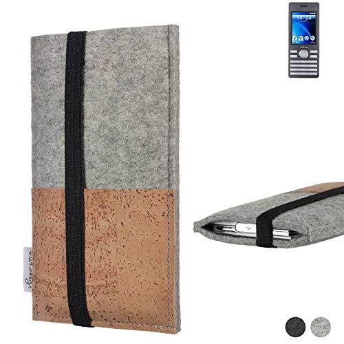 flat.design Handy Hülle Sintra für Kazam Life B6 Handytasche Filz Tasche Schutz Kartenfach Case Kork