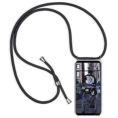 XTCASE Handykette kompatibel mit Huawei Mate 10 Lite Handyhülle, Smartphone Necklace Hülle mit Band Transparent Schutzhülle Stossfest - Schnur mit Case zum Umhängen in Schwarz