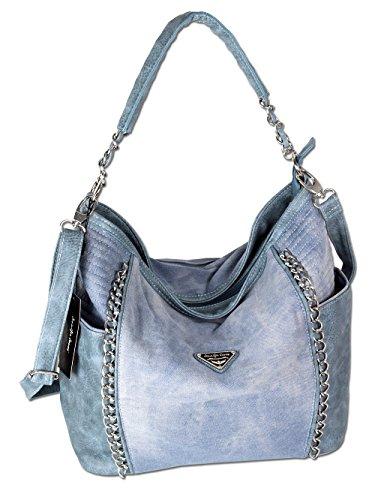 Damen Handtasche Schultertasche Umhängetasche Stofftasche Shopper Groß Jeans Denim 4533 (Große Jean)
