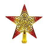 kuangkk Weihnachtsbaumspitze mit Glitzernden Sternen zum Aufhängen, Plastik, Gold&red, 20 cm