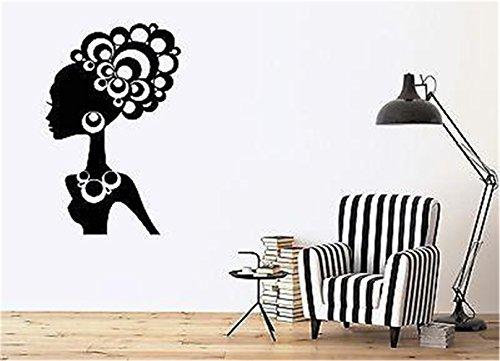wandaufkleber sterne grau Schöne Frau Ethnic Hair Schmuck Ornamente afrikanischen Stil