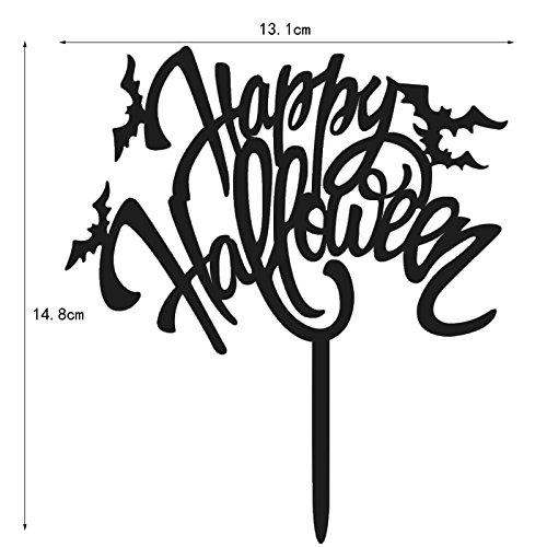 elegantstunning Tortenstecker Glückliches Halloween mit Schlägern Kreativer Acrylmonogramm Kuchen Deckel für Halloween Party Kuchen Dekoration