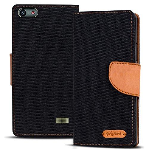 Verco G Play Mini Hülle, Schutzhülle für Huawei G Play Mini Tasche Denim Textil Book Case Flip Case - Klapphülle Schwarz