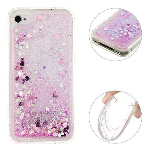 Case iPhone 4/4S Rosa Treibsand Case, iPhone 4 Flüssig Hülle, iPhone 4S Flüssig Hülle, Moon mood® iPhone 4 4S Handyhülle 3D Creative Crystal Clear Flüssig Case Mode Bunten Transparente Kristallklaren Sparkly Silikon TPU Weich Back Handy Cover mit Fließenden Schwimmenden Liquid Quicksand Bling Glitzer Star Kratzfestes Stoßfänger Schutzhülle Abdeckungs