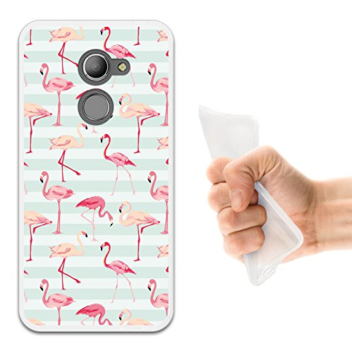 WoowCase Vodafone Smart N8 Hülle, Handyhülle Silikon für [ Vodafone Smart N8 ] Retro Flamingo Handytasche Handy Cover Case Schutzhülle Flexible TPU - Transparent