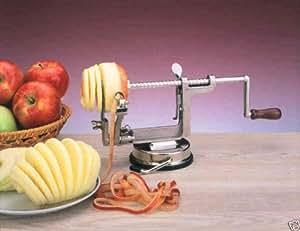 En Aluminium 3en 1éplucheur Apple votre Magic Apple Carotteuse Éplucheur et trancheur Argenté avec support ventouse