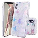 iPhone X Case,DOUJIAZ Shiny Unicorn Silv...