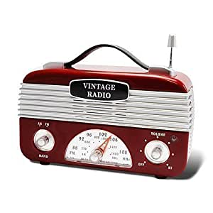 Portable Red Silver 1940's Style Look Vintage Retro AM/FM Radio acc27c