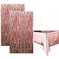 Rorchio 2 Pack Large Foil Fringe Curtains Metallic Tinsel Curtains and Rose Gold Foil Tablecloth for Birthday Bridal Shower Baby Shower Wedding Party Decorations
