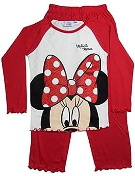 Minnie Mouse Kollektion 2017 Pyjama 92 98 104 110 116 122 128 Mädchen Schlafanzug Neu Nachtwäsche Lang Maus Beige-Rot