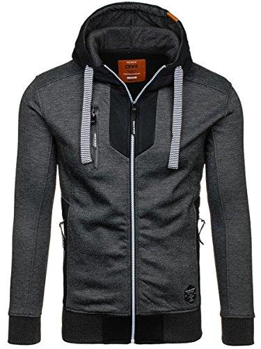 BOLF Herren Sweatjacke Kapuzenpullover Sweatshirt Pullover Kapuze Zip CRWS DNM 3639