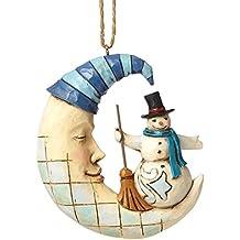 Enesco Heartwood Creek Oggetto Decorativo Pupazzo di Neve Sospensione Sulla Mezzaluna, Resina, Multicolore - Enesco Natale