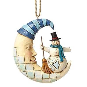 Enesco Heartwood Creek Oggetto Decorativo Pupazzo di Neve Sospensione Sulla Mezzaluna, Resina, Multicolore