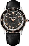 CARTIER MEN'S 42MM BLACK LEATHER BAND STEEL CASE AUTOMATIC WATCH W2RN0005