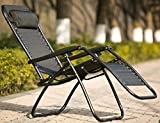 Foldable Beach Chair Life Carver zero gravity chair Outdoor Foldable Lounger Garden Patio Yard Poolside Lounge Chair Seat Beach Recliner Armrest Camping Chair/Black