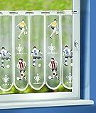 novum fix Kurzgardine, Bistro'Fußball', Scheibenhänger, Caféhausgardine, Stangendurchzug , Ösen, ca. 60x145 cm (HxB), mehrfarbig
