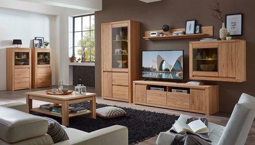 Wohnzimmerschrank, Wohnwand, Schrankwand, Anbauwand, Fernsehwand, Wohnzimmerschrankwand, Wohnschrank, Massivholz, Massiv, Wildeiche - 2