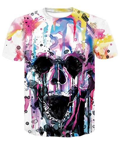 XIAOBAOZITXU T-Shirt Männer Und Frauen Mode Großes Sweatshirt Unisex-Paar-Kostüm Schädel Färben Schmale Passform Cooles Lustiges Sommer-T-Shirt M