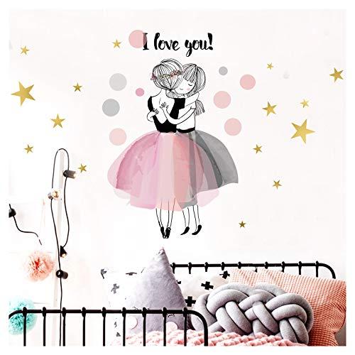 Little Deco Kinderzimmer Wandaufkleber 2 Mädchen I Love You I 75 x 47 cm (BxH) I Wandtattoo Sterne Deko Aufkleber Sticker Wandsticker DL207-10