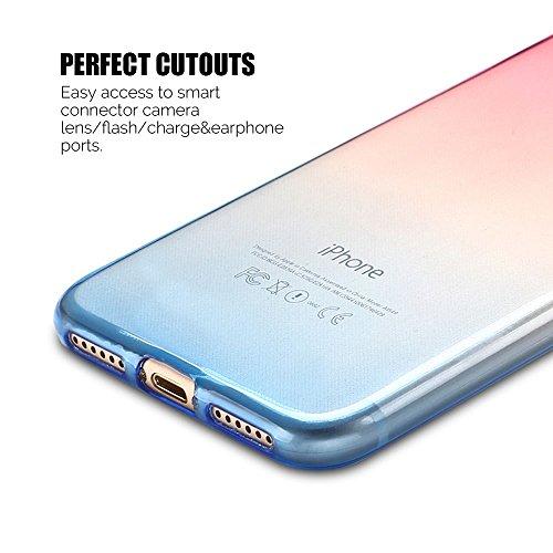 Coque iPhone 7 (4.7 pouce) , TPU Transparente Case Gradient de couleur Slim Souple Étui de Protection Flexible Soft Silicone Cover Anti Choc Ultra Mince Couverture Bumper Caoutchouc Gel Anfire Housse  Rouge et Bleu