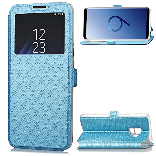 Samsung Galaxy S9 Telefon Fall, [Lozenge] [Kartenschlitz] [Flip View] [Slim Fit] Folio Fall mit Fenster View Wallet Cases PU Leder Magnetisch Folio Back Cover für Galaxy S9 (Blau)