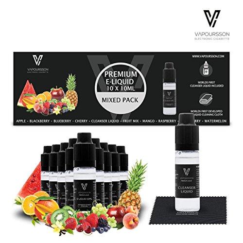 Vapoursson 10er Pack, 10 x 10ml E-LIQUID inkl. Reinigungsliquid und Tuch, 0mg (ohne Nikotin): Wassermelone, Mango, Apfel, Erdbeere, Blaubeere, Kirsche, Brombeere, Himbeere, Fruchtmix, Reinigungsliquid