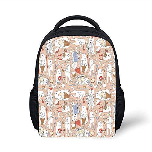 Kids School Backpack Music,Cartoon Musician Cute Cats with Drum Accordion Tube Guitar Music Theme Pattern,Warm Taupe White Plain Bookbag Travel Daypack -