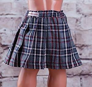 Mariquita Pérez- Falda Escocesa Gris Complementos, Color Vestido de colección diseño Propio (Comercial de Juguetes Maripe SL 1)