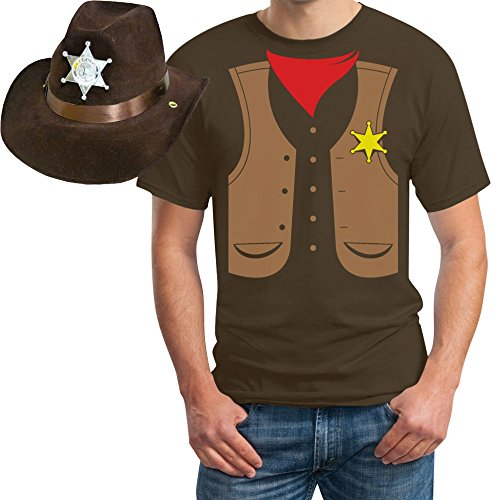 SET Cowboy Sheriff Kostüm T-SHIRT + HUT Karneval, JGA, Party T-Shirt X-Large (Sheriff Kostüme Tshirt)