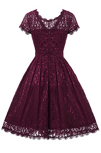 Gigileer Elegant Damen Kleider Spitzenkleid Cocktailkleid Knielanges Vintage 50er Jahr hochzeit Party weinrot L - 2