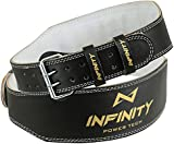 "Infinity Leather Weight Lifting 4"" Belt Back Support Strap Gym Power Training Fitness, Small, Medium, Large, XLarge"