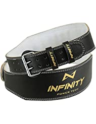 """infinity piel levantamiento de peso 4""""cinturón espalda apoyo correa gimnasio energía entrenamiento Fitness, Small, Medium, Large, Xlarge, negro, Small 24'' to 28''"""