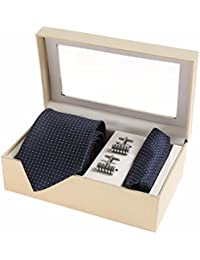 Sir Michele Designer Blue Micro Silk Tie, Pocket square and Cufflink Set for Men (Pack of 3)