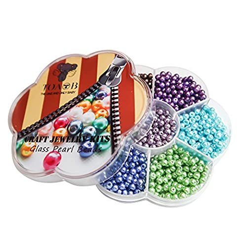 TOAOB 4mm Pack of 1050pcs Round Glass Pearl Beads Mixed Colour with Box for Jewelry Making